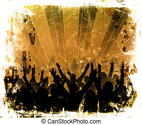 Silhouette of an audience on a grunge background