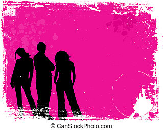 grunge youth - Silhouettes of young people on grunge...