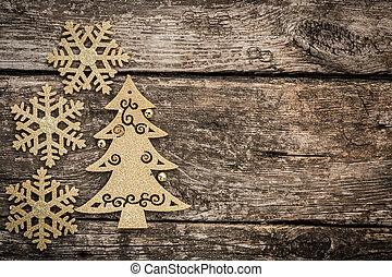 grunge, złoty, drzewo, drewno, ozdoby, boże narodzenie