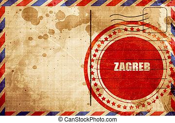 grunge, zagreb, timbre, arrière-plan rouge, poste aérienne