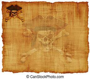grunge, zeerover, schedel, perkament