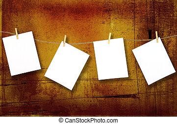 grunge, zelfs, papieren, optellen, hangend, boodschap, jouw