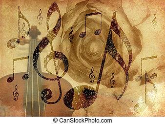grunge, zene, rózsa, háttér