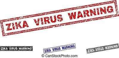 Grunge ZIKA VIRUS WARNING Textured Rectangle Stamp Seals