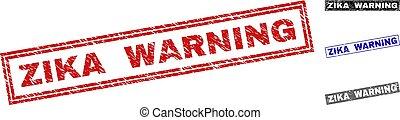 Grunge ZIKA WARNING Textured Rectangle Stamp Seals