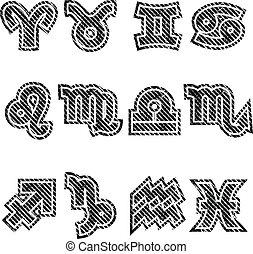 Grunge Zodiac Rubber Stamp Symbols