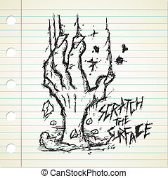grunge zombie hand doodle on a paper