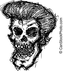 grunge zombie head with hair