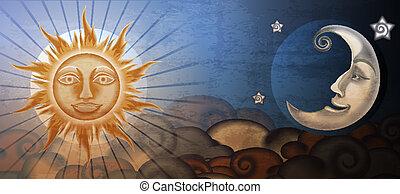 grunge, zon, fresco, maan, imitation., voorkant, clouds.