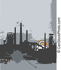 Grunge_factory_silhouette - Grunge silhouette, industy...