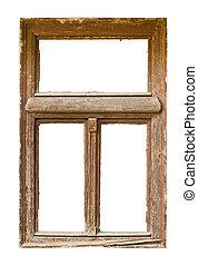 grunged, 木製である, 窓