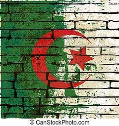 Grunged Algerian Flag over a brick wall background...