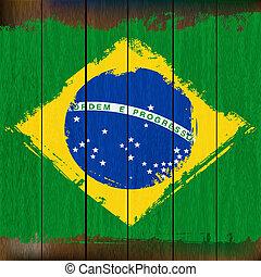 grunged, houten, op, illustratie, vlag, achtergrond, braziliaans, plank
