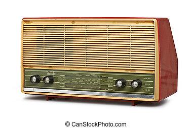 grungy, årgång radio, isolerat, (clipping, path)