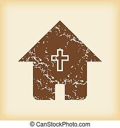 grungy, épület, keresztény, ikon