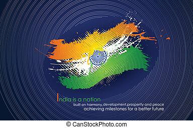 grungy, インド, 三色旗, 背景