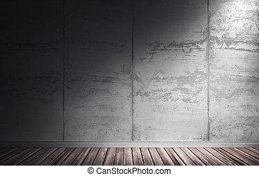 grungy, コンクリート, 3d, イラスト, interior.