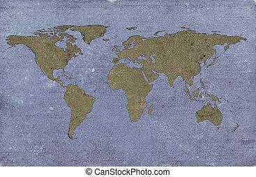 grungy, 世界, textured, 地図