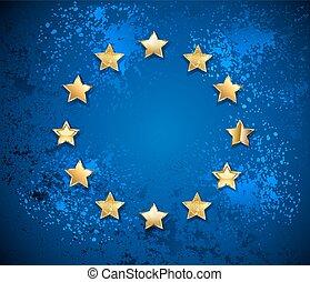 grungy, 組合, シンボル, ヨーロッパ