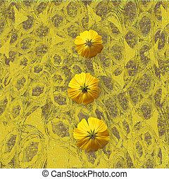 grungy, 花, 黄色の背景