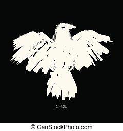 Grungy abstract raven illustration. Vector tribal bird.