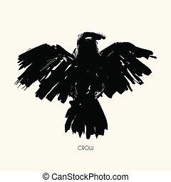 Grungy abstract raven illustration. Vector tribal bird. -...