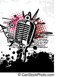 grungy, abstract, vector, mic