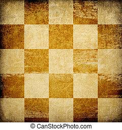 grungy, achtergrond., schaakbord, bevlekte