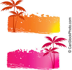 grungy, achtergronden, palmbomen