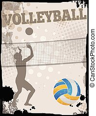 grungy, affiche, volley-ball, fond