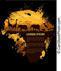grungy, afryka, projektować, szablon