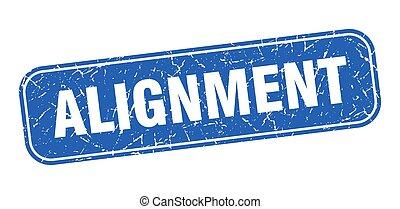 grungy, alignement, signe, stamp., carré bleu
