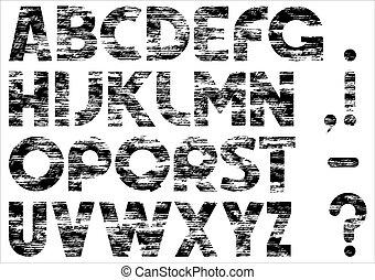 grungy, alphabet