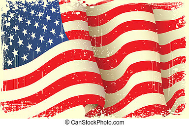 Grungy American Flag Waving - illustration of waving...