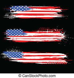 grungy, amerikaan, spandoek, vlag
