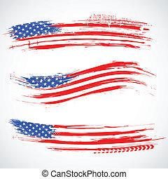 grungy, amerikai, transzparens, lobogó