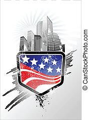 grungy, amerykanka, emblemat, bandera