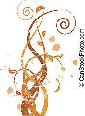 grungy, autunno, illustrazione