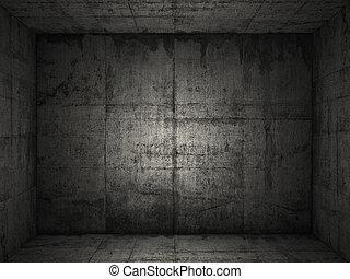 grungy, béton, 2, salle