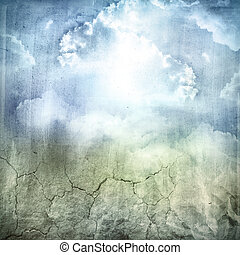 Grungy background - Grungy blue tone earth sky background