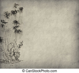 Grungy Background. old paper with bamboo branches