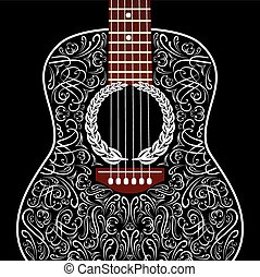 grungy background with black acoustic guitar