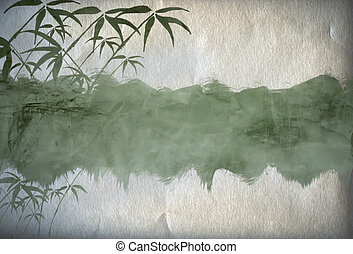 Grungy Background.old paper with bamboo branches