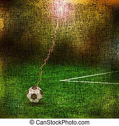Grungy Background.old paper with soccar ball on green field. illustration.