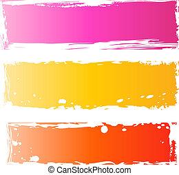 grungy, baner, nätt, flerfärgad