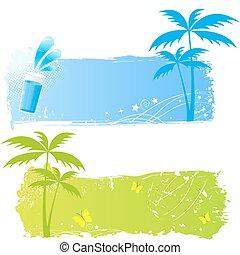 grungy, banieren, twee, palmen