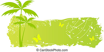Grungy banner with palm trees and butterflies