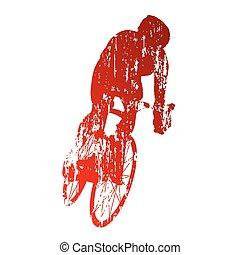grungy, biciklista, elvont