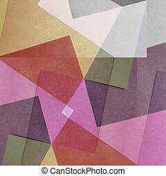 Grungy and grainy bleached abstract color background, made of intersecting geometric figures, vintage paper texture