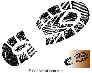 Isolated Mountin Boot Print - Highly detailed vector of a mountain boot- transparent vector so it can be overliad onto other graphic elements